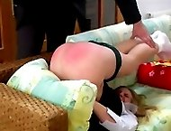Pretty teen in school knickers gets hard blistering punishments in 4 humiliating positions