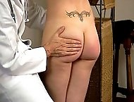 Humiliating medical examination and sound spankings for a blonde hottie