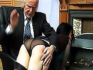 Pretty girl in see through panties spanked hard otk - voluptuous red cheeks