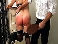 Big bottom lovely spanked and paddled in the bedroom - severe red marks