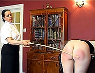 Fully exposed leg spread wide caning in the study for slutty bitch with hot red ass