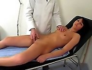 Shocking anal and pussy examination for a hot brunette girl