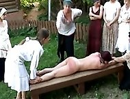 Bare assed paddling in the detantion room for three bad girls - swollen bruised buttocks