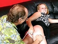 Cute teen in severe otk spanking - hot quivering buttocks