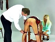 Lucie has disobeyed her teacher one too many times and is called into the headmaster`s office for a good caning