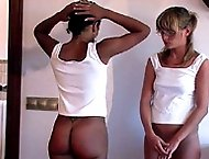 Corner time punishments for two shamed school girls - burning red buttocks