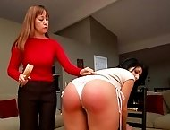 12-stroke panties down caning finale for Dr Miller, touching her toes