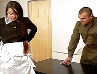 Beautiful maid caned by a merciless military officer
