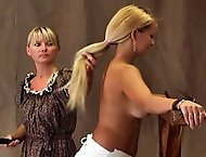 Sarah has disobeyed the rules yet again and is called into the headmistress office for a whipping.  The headmistress orders Sarah to remove her shirt