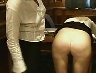 Blonde beauty gets her pleasant plump ass caned