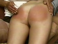 Hot punishment action featuring paddling and caning